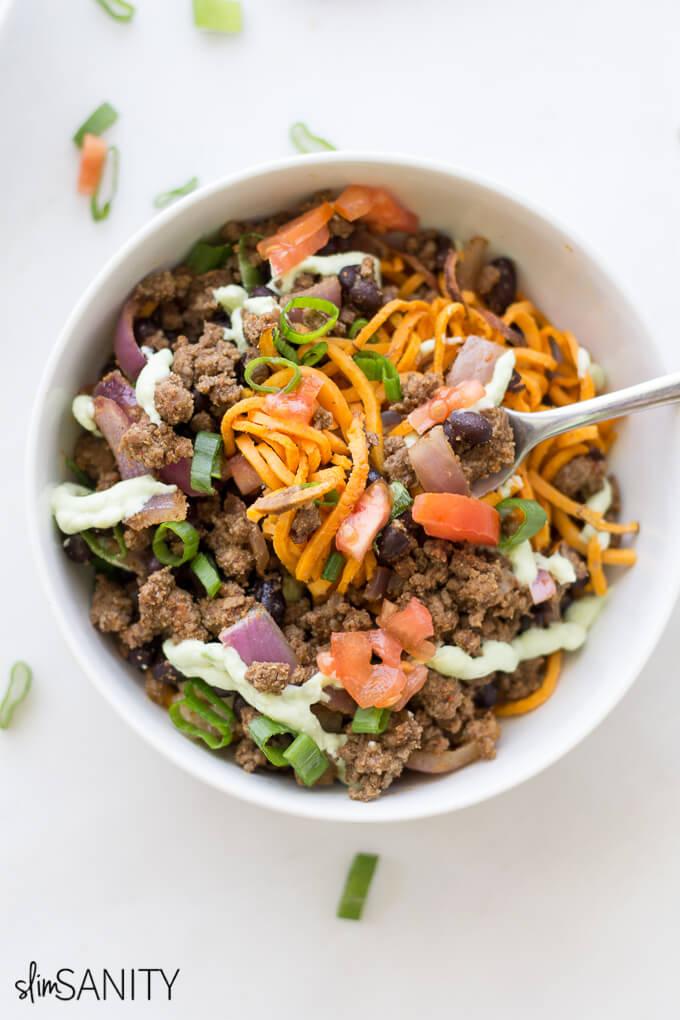 Sweet Potato Noodle Taco Bowls 7